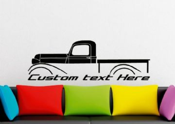Large Custom car silhouette wall sticker - for 1937 Plymouth PT-50 half-ton vintage pickup truck
